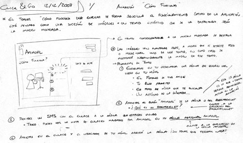 Heavily annotated hand-drawn wireframe for Amimovil homepage