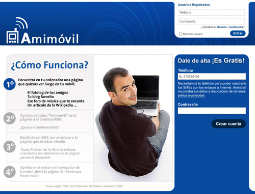 Mock-up of Amimovil homepage including visual design assets