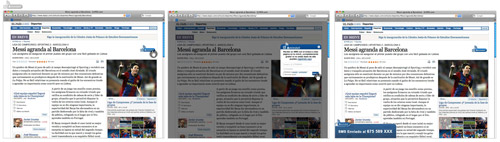side by side captures of Amimovil service working on a newspaper site