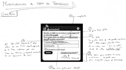 Screen capture of Amimovil dialog, with hand-drawn annotations