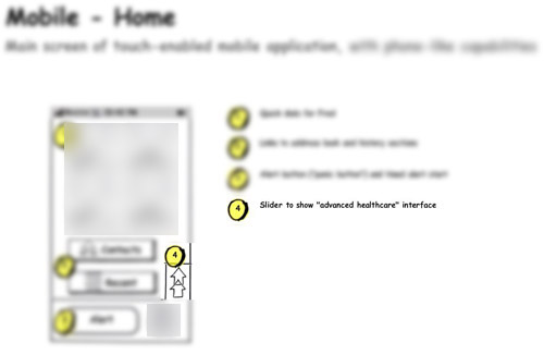blurred Balsamiq wireframe for a mobile phone interface, showing a sliding tab that opens up advanced configuration options