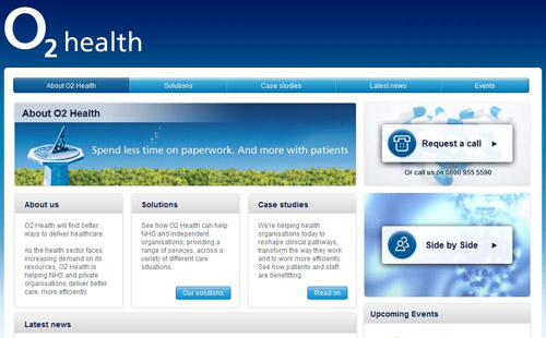 Home page for O2 Health