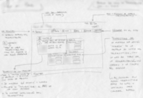 blurred image of hand-drawn sketch for admin-like user dashboard
