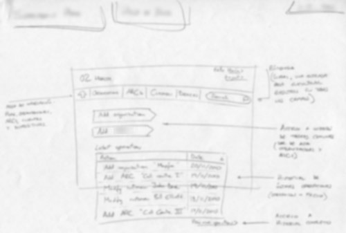 blurred image of hand-drawn sketch for set-up process