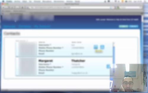 blurred screen capture of usability testing on O2 Health pilot project