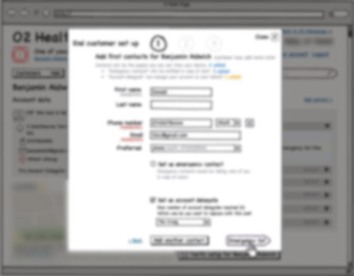 blurred Balsamiq wireframe showing a web form