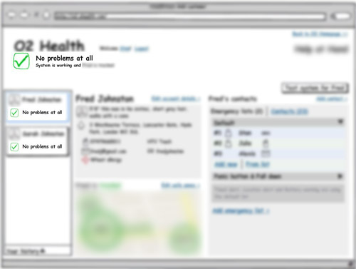 blurred Balsamiq wireframe of admin-like user's dashboard showing checks for each user and a general check for the system