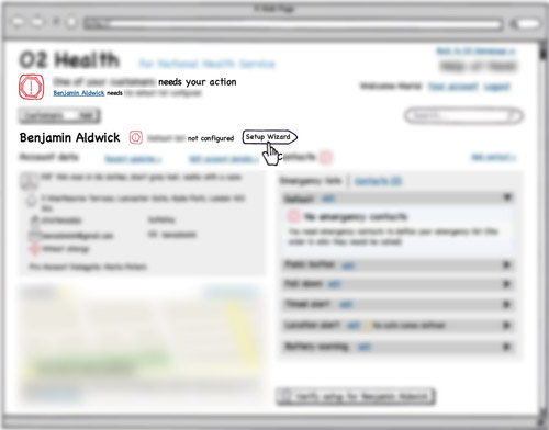 blurred Balsamiq wireframe of customer's dashboard for an account that needs configuring