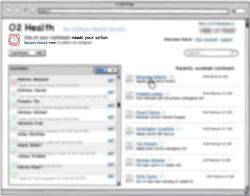 blurred Balsamiq wireframe of admin-like user's dashboard showing a warning sign for a user which results in a warning sign for the global status