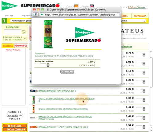 screen capture of El Corte Inglés online supermarket