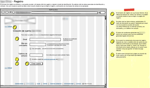 blurred annotated wireframe for online supermarket's sign up