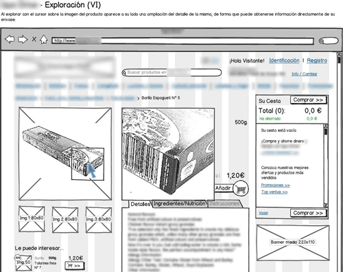 blurred annotated wireframe for online supermarket's product exploration flow