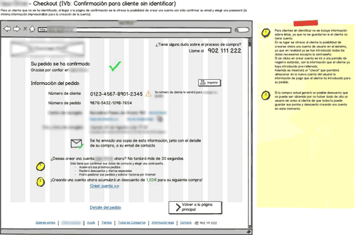 blurred annotated wireframe for online supermarket's order confirmation page for non-registered customers
