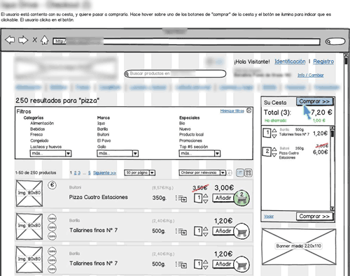 blurred annotated wireframe for online supermarket's purchase flow