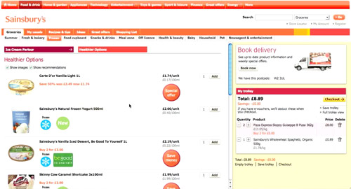 screen capture of Sainsbury's online supermarket
