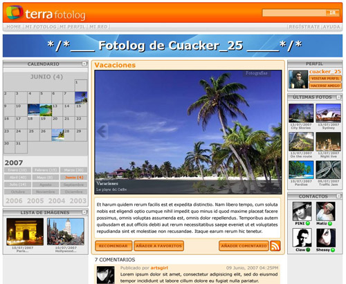 HTML prototype of Fotolog view, clearly based on the previous wireframe