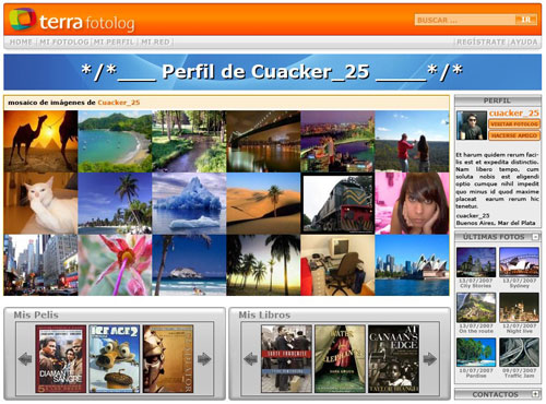 proposal of user profile screen, showing a mosaic of last photographs and posters of user's favourite movies and books