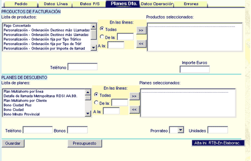 Image of Odin's web portal interface, including tabs, radio buttons, combos...