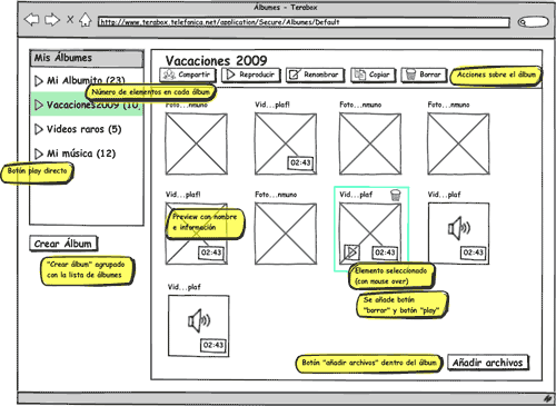 Balsamiq wireframe showing album managing page at Terabox