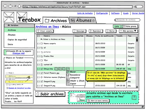 Balsamiq wireframe showing our redesign proposal for Terabox interface with contextual actions