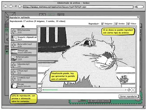 Balsamiq wireframe showing multimedia player at Terabox, allotting a big part of the screen to content